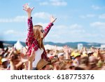 teenagers at summer music... | Shutterstock . vector #618775376