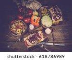 sandwich with turkey  sweet...   Shutterstock . vector #618786989