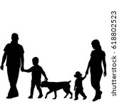 Stock vector family silhouettes with two children and dog 618802523