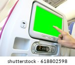 led screen in aircraft chair. | Shutterstock . vector #618802598