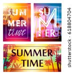 colorful summer banners ... | Shutterstock .eps vector #618804704