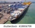 container box loading by crane  ... | Shutterstock . vector #618806708