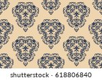 seamless  blue and tan ornament ... | Shutterstock .eps vector #618806840