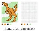 pixel dinosaur cartoon in the... | Shutterstock .eps vector #618809438