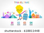 travel and tourism background.... | Shutterstock .eps vector #618811448
