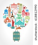 travel and tourism background.... | Shutterstock .eps vector #618812990