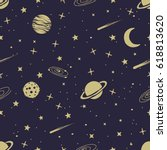 astronomic seamless pattern... | Shutterstock .eps vector #618813620