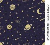 astronomic seamless pattern... | Shutterstock .eps vector #618813620