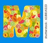 letter   m made of tropical... | Shutterstock .eps vector #618814223