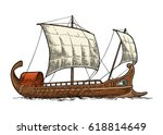 trireme floating on the sea... | Shutterstock .eps vector #618814649