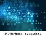 fintech icon  on abstract... | Shutterstock . vector #618815663