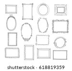 hand drawn frames set. cartoon... | Shutterstock .eps vector #618819359