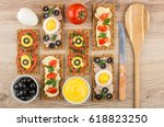 sandwiches from crispbread with ... | Shutterstock . vector #618823250