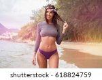 sensual brunette woman wearing... | Shutterstock . vector #618824759
