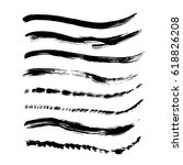 set of black paint  ink brush... | Shutterstock .eps vector #618826208