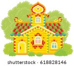 colorfully decorated log hut... | Shutterstock .eps vector #618828146