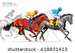 four racing horses competing... | Shutterstock .eps vector #618831413