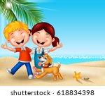 cartoon happy kids on the beach | Shutterstock .eps vector #618834398