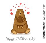 cute cartoon bear with its baby ... | Shutterstock .eps vector #618834749