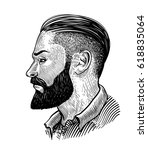 hand drawn portrait of bearded... | Shutterstock .eps vector #618835064