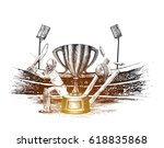 cricket championship with ball... | Shutterstock .eps vector #618835868