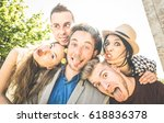 group of best friends taking... | Shutterstock . vector #618836378