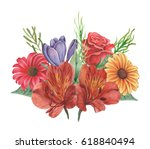 hand painted watercolor... | Shutterstock . vector #618840494