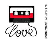 plastic audio tape cassette... | Shutterstock .eps vector #618841178