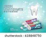whitening toothpaste ads...   Shutterstock .eps vector #618848750