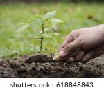 planting trees to reduce global ... | Shutterstock . vector #618848843