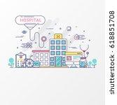flat line hospital design... | Shutterstock .eps vector #618851708