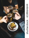 people  leisure and drinks...   Shutterstock . vector #618864644