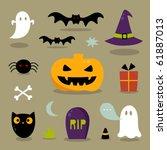 cute halloween icons   Shutterstock .eps vector #61887013