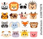 Cute Cartoon Animals Head. Dog...