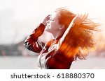 cheerful happy young adult girl ... | Shutterstock . vector #618880370