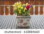 Flower Pot With Spring Flowers...