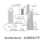 vector city illustration in... | Shutterstock .eps vector #618894179