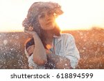 happiness summer portrait young ... | Shutterstock . vector #618894599