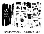 set of black ink vector stains... | Shutterstock .eps vector #618895130