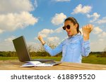 A Women With Laptop  Sitting I...