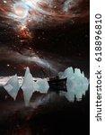icebergs under the milky way.... | Shutterstock . vector #618896810