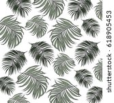 tropical leaves | Shutterstock . vector #618905453