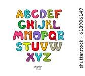 a set of children's letters.... | Shutterstock .eps vector #618906149