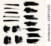 vector set of black brush... | Shutterstock .eps vector #618911633