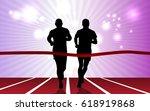 silhouette of marathon runner | Shutterstock .eps vector #618919868