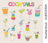 cocktails elements stickers set.... | Shutterstock .eps vector #618923504
