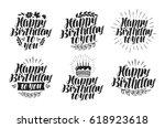 happy birthday to you  label... | Shutterstock .eps vector #618923618