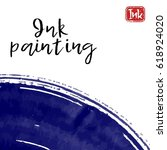 ink wash painting on white... | Shutterstock .eps vector #618924020