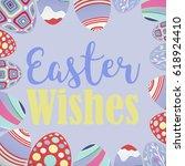 easter eggs against pastel blue | Shutterstock . vector #618924410
