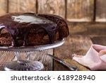homemade chocolate cake on... | Shutterstock . vector #618928940